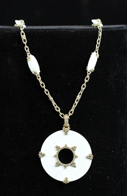 Judith Ripka 18k White Agate Diamond Necklace