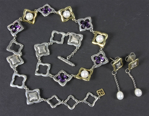 David Yurman Sterling 18k Amethyst Pearl Suite