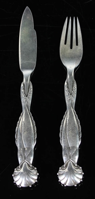 Georg Jensen Sterling Fish Motif Knife and Fork