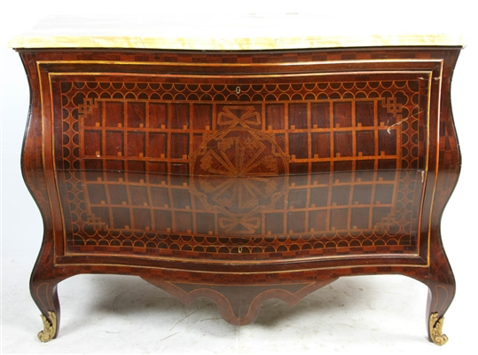 Italian Marble Top Credenza with Inlay