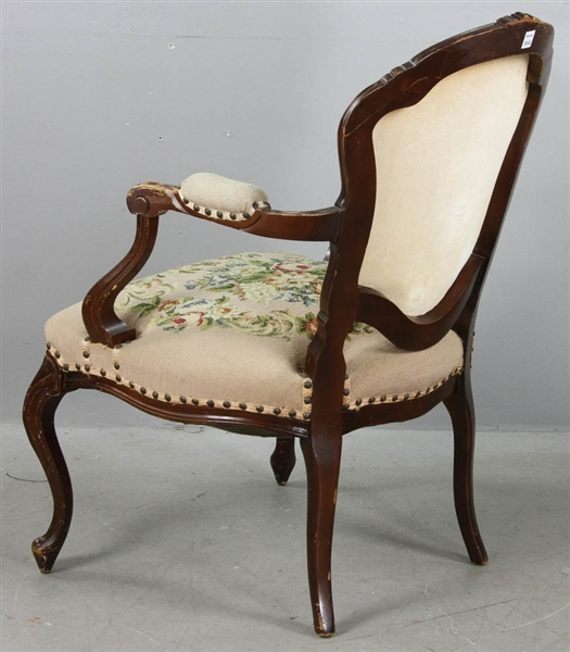 French Provincial Style Armchair with Needlepoint