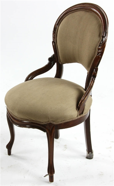 Victorian Walnut Balloon Back Parlor Chair