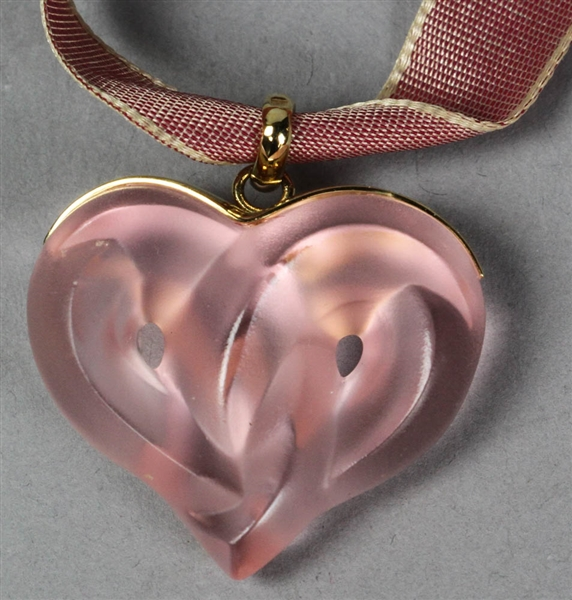 Lalique Frosted Pink Glass Twisted Heart Pendant