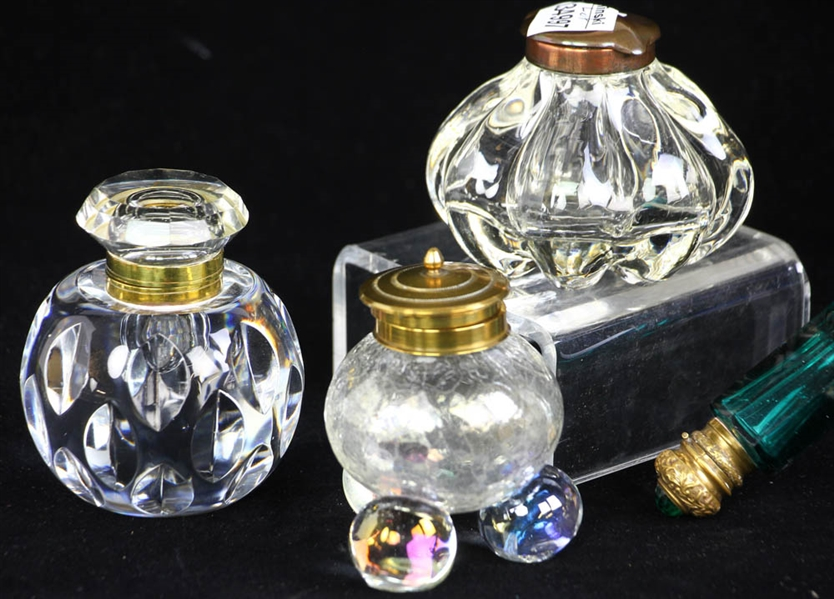 Group of Antique Inkwells and Scent Bottles