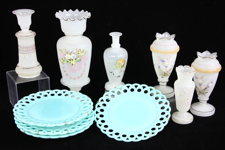 Camphor Glass Vases and Milk Glass Plates