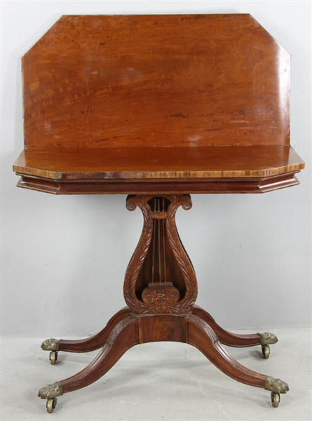 19thC Classical Lyre Base Card Table