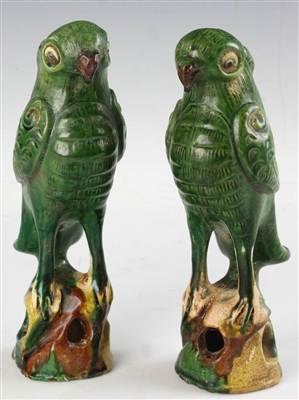 Pair of 19th C Chinese Pottery Parrots