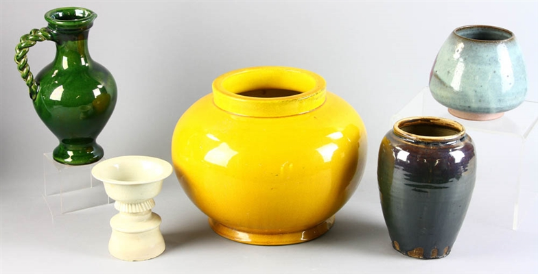Group of Five Asian Pottery Items