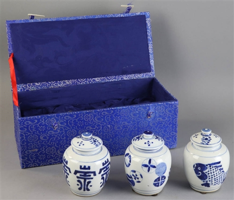 Three Chinese Blue and White Jars