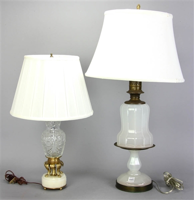 English Opaline and French Glass Lamps