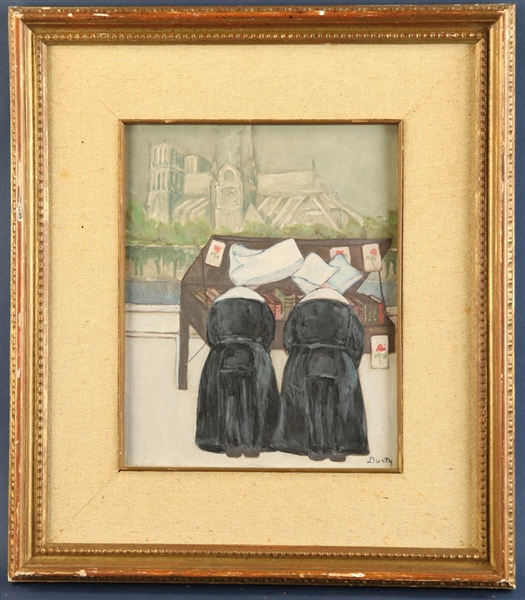 Dusty, Nuns at Notre Dame, Oil on Board