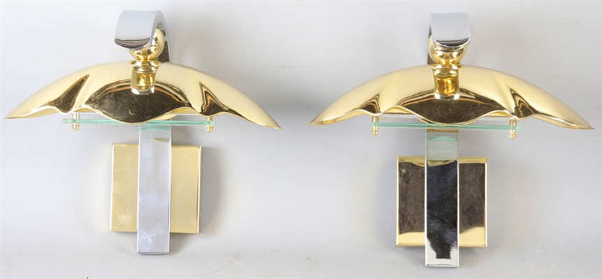 Pair of Hollywood Regency Clamshell Wall Sconces