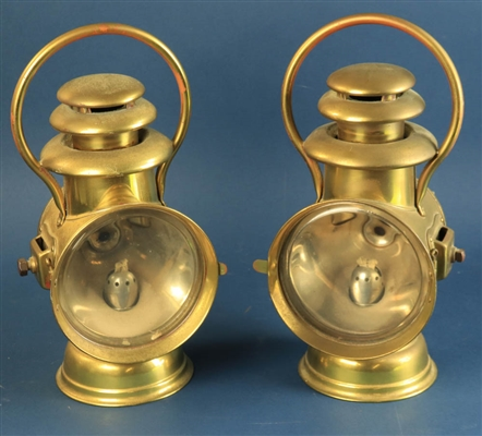 Pair of Dietz Brass Auto Lamps