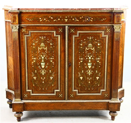 19th C Boulle Work Cabinet with Marble Top