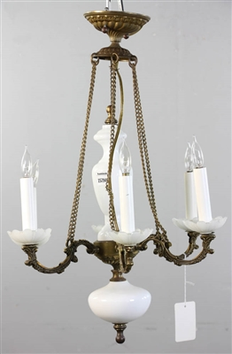 Antique Bronze and Opaline Chandelier