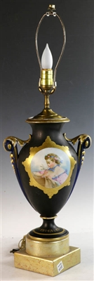 19thC Paris Porcelain Lamp