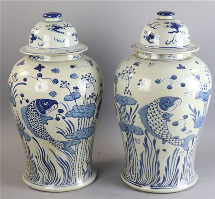 Pair of Chinese Porcelain Temple Jars with Koi
