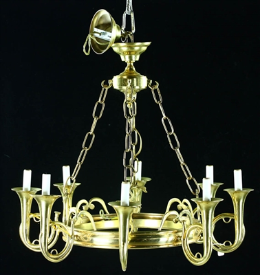 20thC Brass Eight-Lamp Chandelier