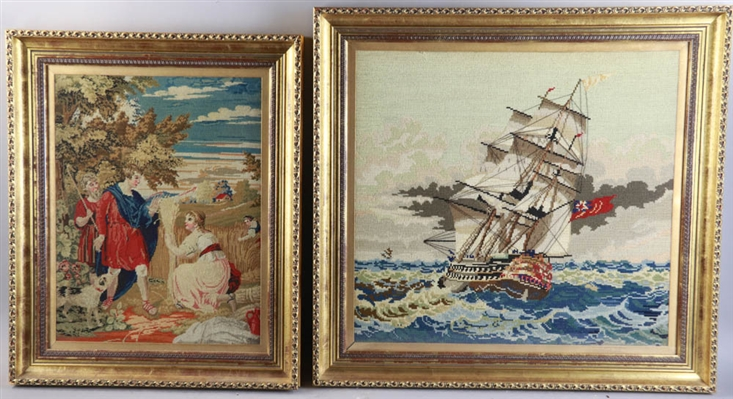 Two 19thC English Needlework Pictures by Crewel Embroidery