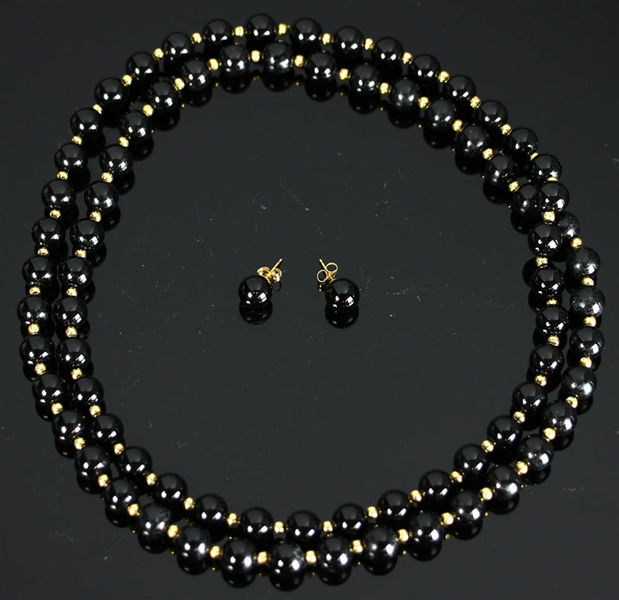 14k Yellow Gold Black Onyx Suite