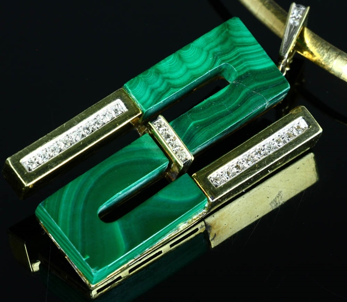 14k Yellow Gold Malachite and Faux Diamond Brooch