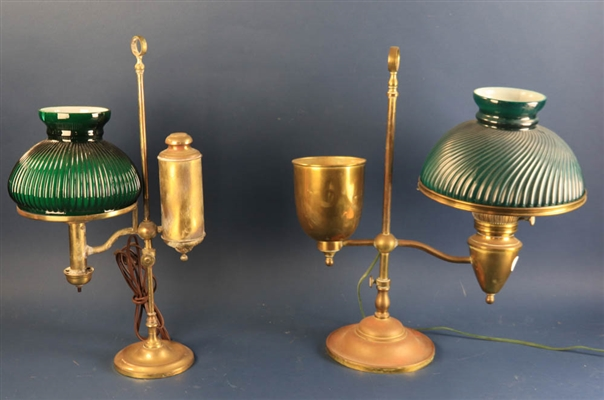 Two Antique Brass Student Lamps