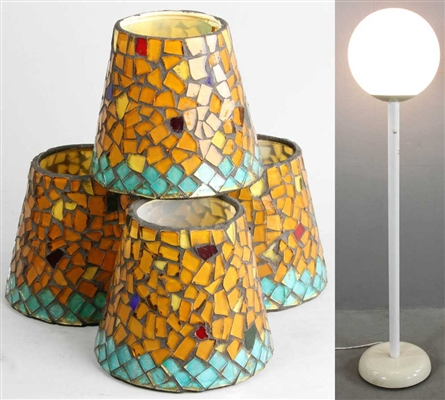 Italian Floor Lamp and (4) Leaded Glass Shades