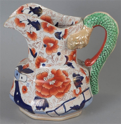 20thC Masons Ironstone Pitcher with Serpent Handles