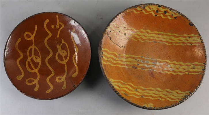 Early Redware Decorated Plate and Bowl