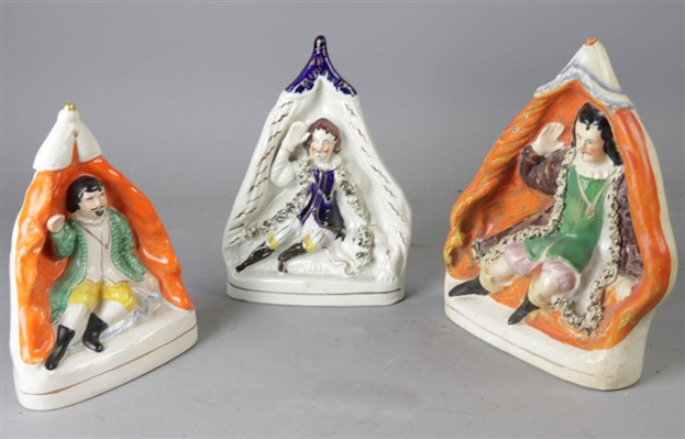 (3) 19thC English Staffordshire Figures, David Garrick