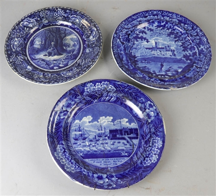 (3) Early Staffordshire Flow Blue Plates