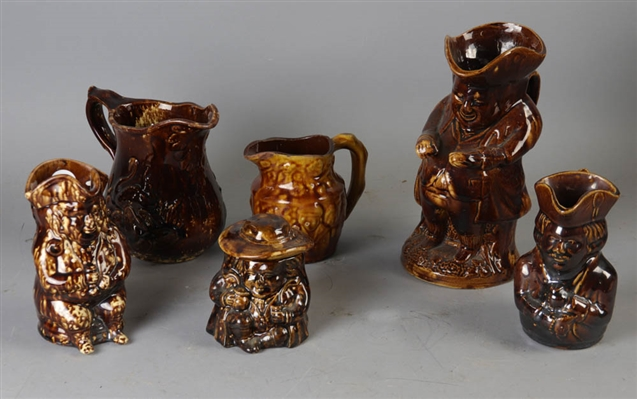 Group of Six Toby Pitchers