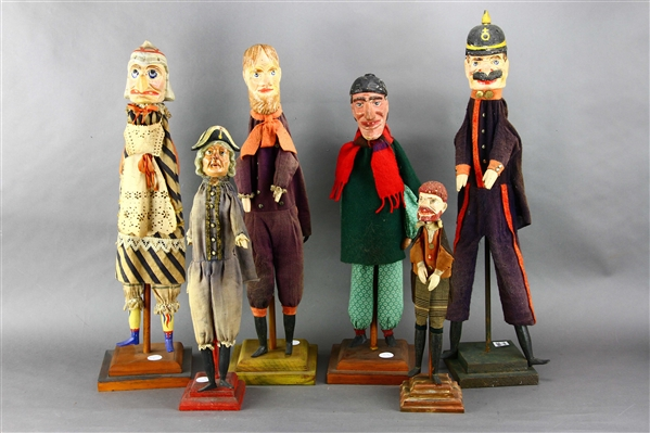 Group of Six Puppets, Including Bobby