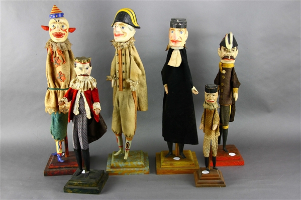 Group of Six Puppets, Including Clown