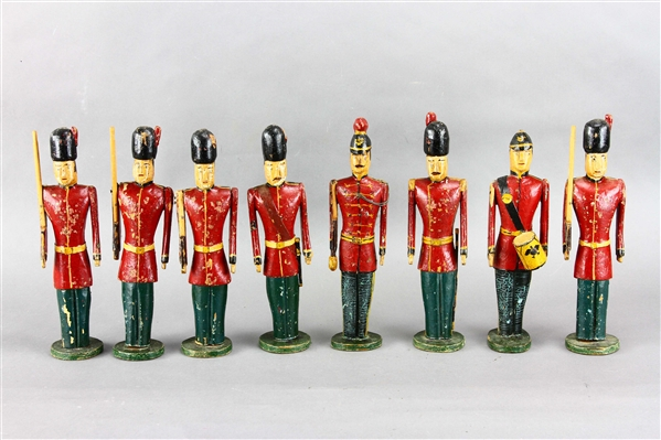 Group of Eight Hand Carved 19thC British Soldiers