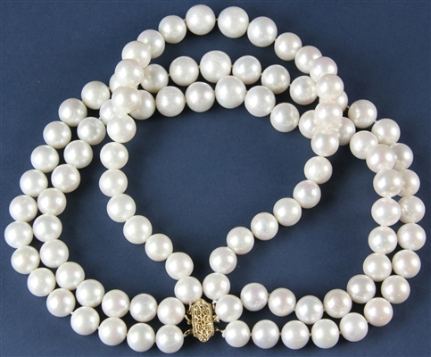 Triple Strand Pearl Necklace with 14k Gold Clasp