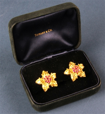 Tiffany and Co 18k Gold and Ruby Earrings