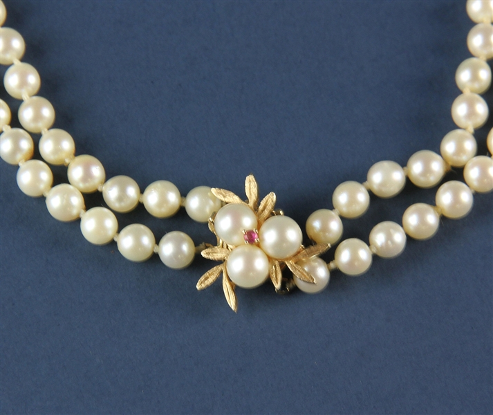 Double Strand Pearl Necklace with Gold Clasp