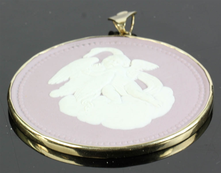 Wedgwood Medallion in 14k Gold, Cherub and Swan