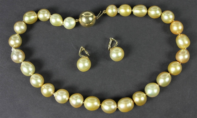 South Sea Pearl Necklace, Pearl Earrings