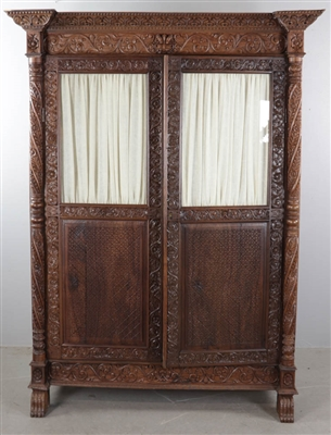 Anglo Indian Handcarved Two Door Cabinet