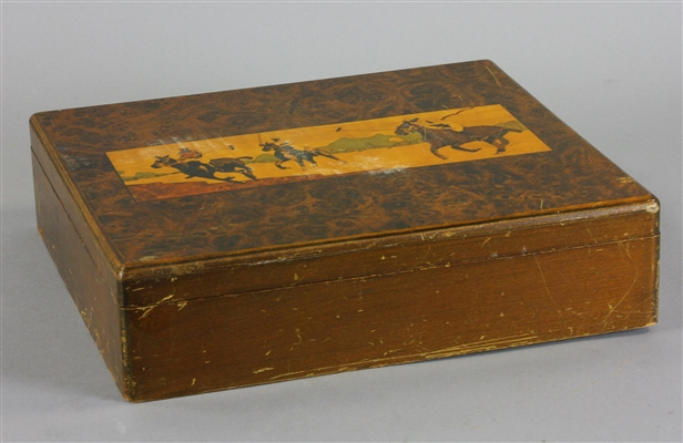 Equestrian Inlaid Box, Ashtray, Magnifying Glass