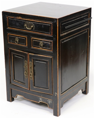 Old Chinese Painted Black Cabinet