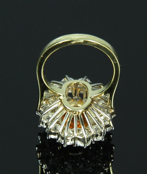 18k Gold Golden Sapphire and Diamond Ring
