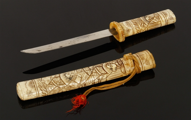Japanese Tanto, Carved Bone Scabbard