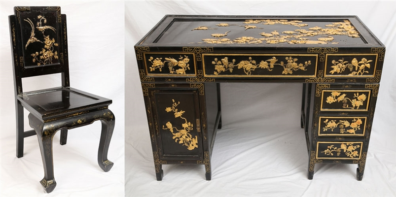 Japanese Lacquered Desk and Chair