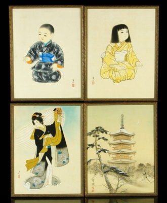 Four Asian Drawings on Silk