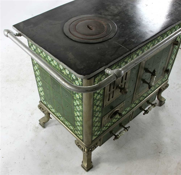 Cast Iron Stove with Floral Tile Trim