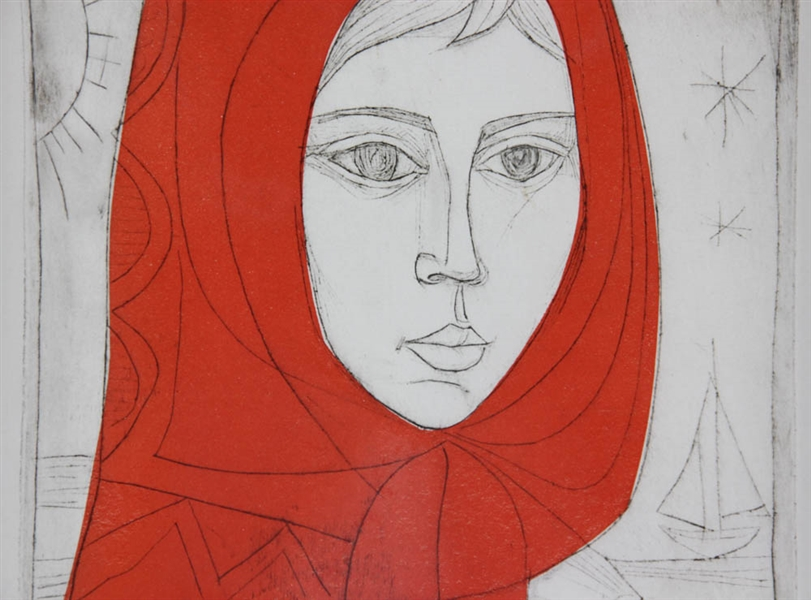 Irving Amen Red Shawl Signed Artist's Proof