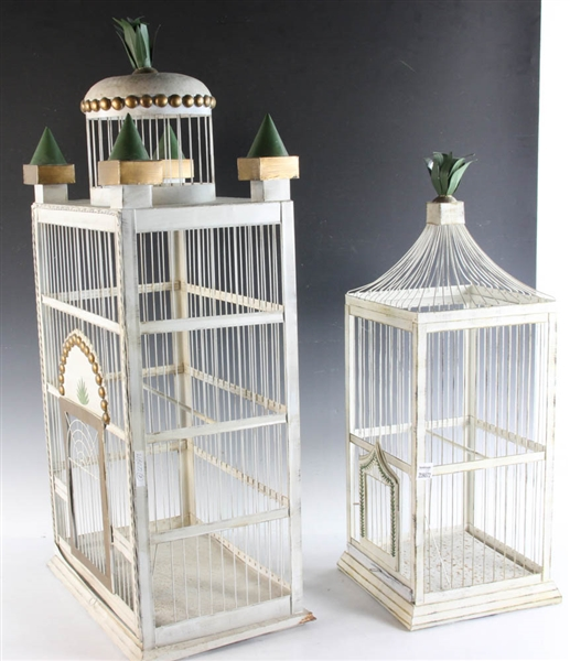 Two Old Painted Bird Cages
